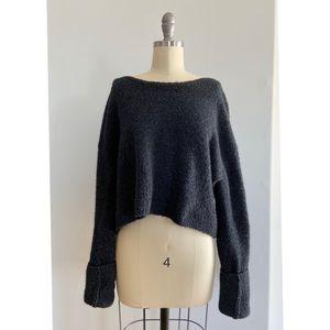 BCBGMaxazria - Dark Grey Knit Cropped Sweater